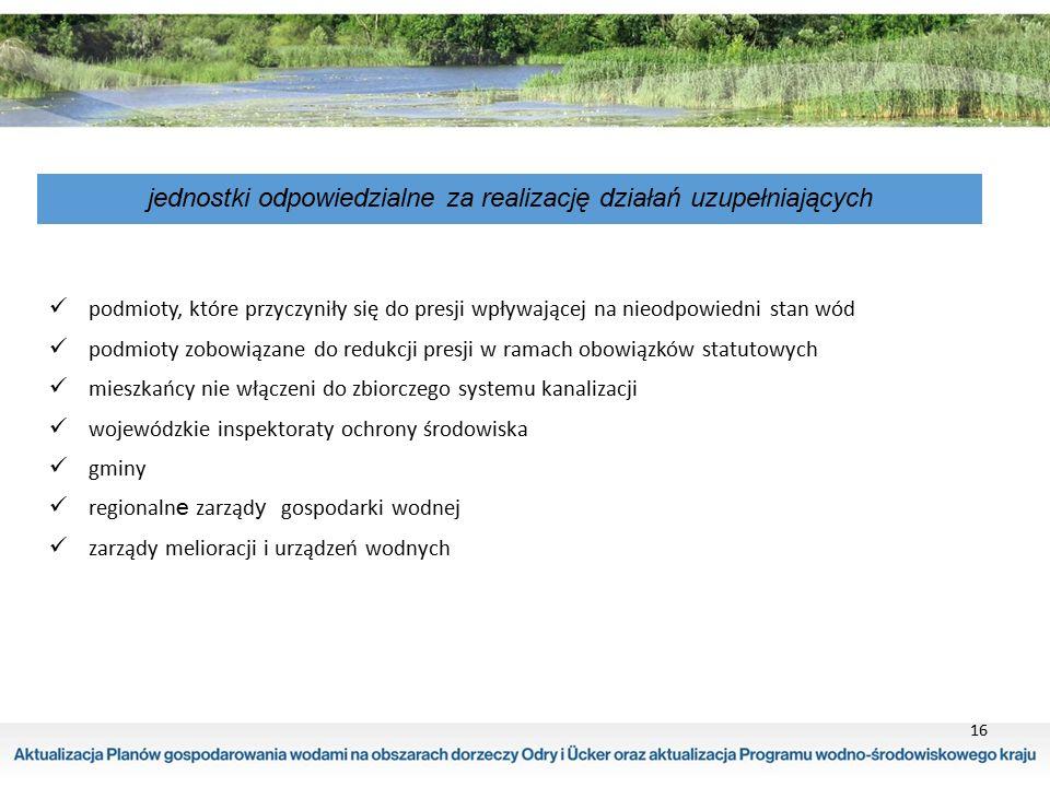 16 jednostki odpowiedzialne za realizację działań uzupełniających podmioty, które przyczyniły się do presji wpływającej na nieodpowiedni stan wód podm