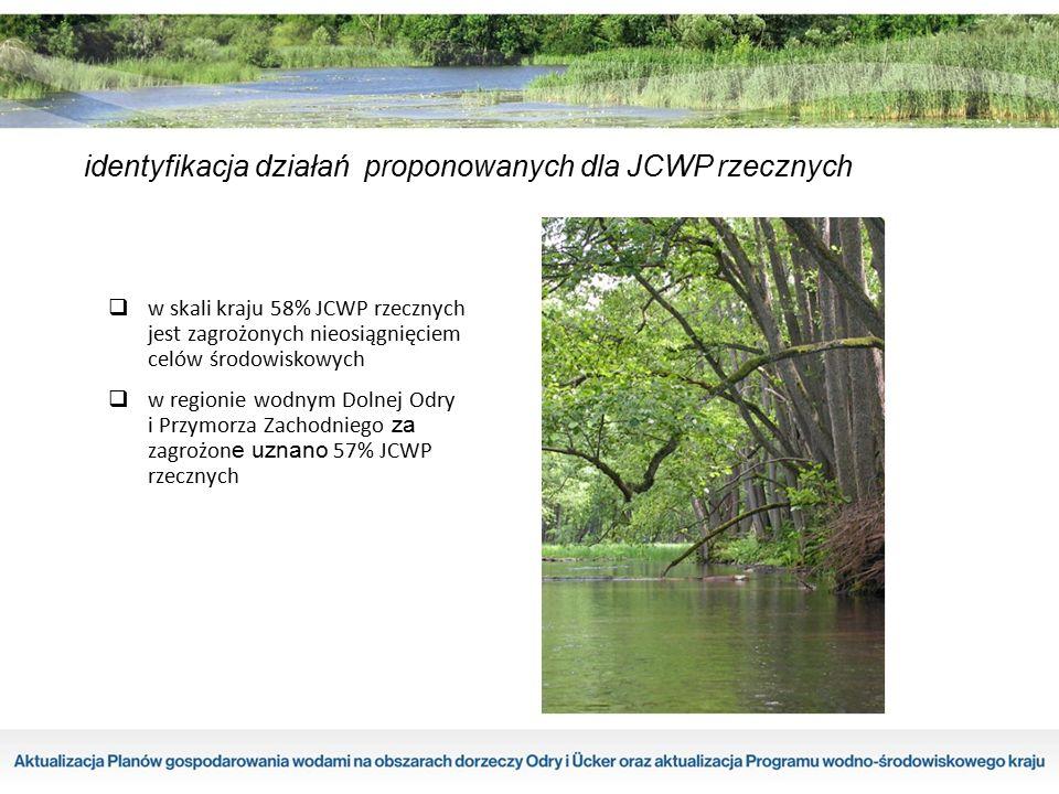 identyfikacja działań proponowanych dla JCWP rzecznych  w skali kraju 58% JCWP rzecznych jest zagrożonych nieosiągnięciem celów środowiskowych  w re