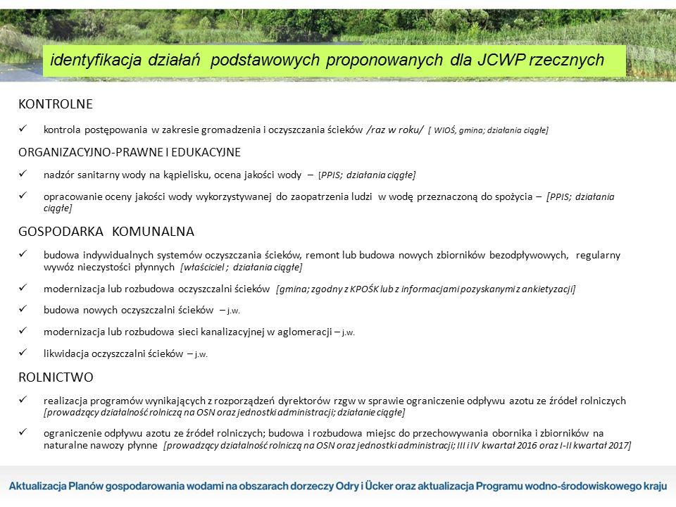 identyfikacja działań podstawowych proponowanych dla JCWP rzecznych KONTROLNE kontrola postępowania w zakresie gromadzenia i oczyszczania ścieków /raz