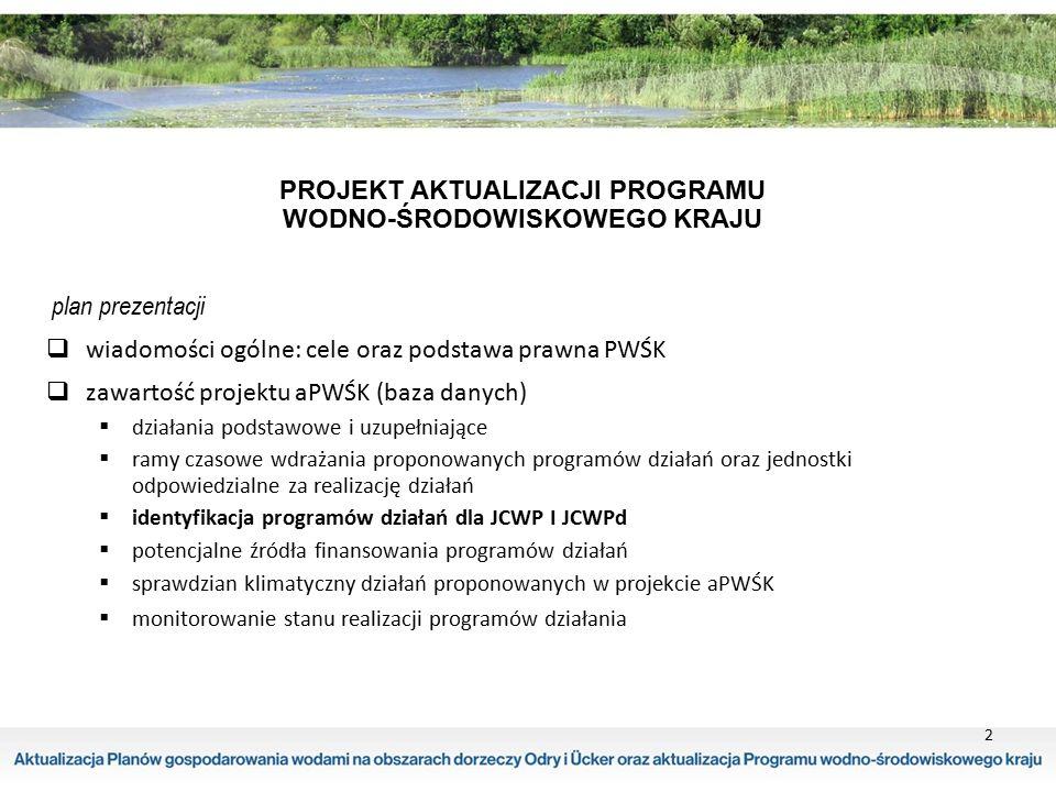 podsumowanie działań proponowanych dla wód podziemnych w regionie Dolnej Odry i Przymorza Zachodniego oraz koszt ich wdrażania dla 13 JCWPd przypisano 51 działań podstawowych oraz 3 działania uzupełniające sumaryczny koszt działań dla JCWPd 18,7 mln.