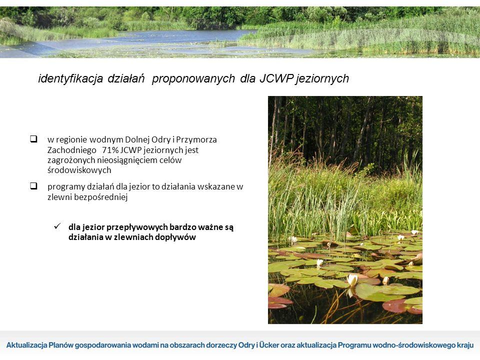 identyfikacja działań proponowanych dla JCWP jeziornych  w regionie wodnym Dolnej Odry i Przymorza Zachodniego 71% JCWP jeziornych jest zagrożonych n