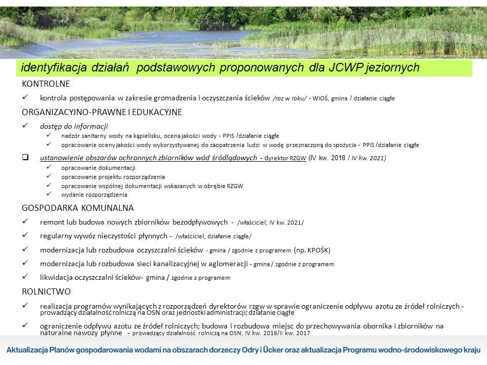 identyfikacja działań podstawowych proponowanych dla JCWP jeziornych KONTROLNE kontrola postępowania w zakresie gromadzenia i oczyszczania ścieków /ra