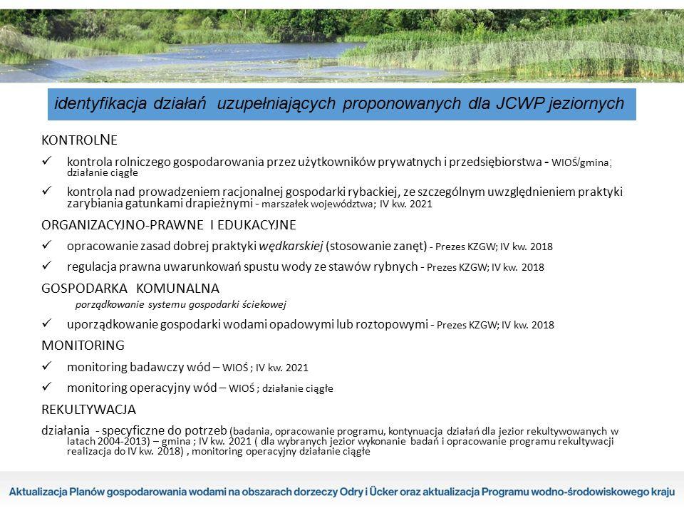 identyfikacja działań uzupełniających proponowanych dla JCWP jeziornych KONTROL N E kontrola rolniczego gospodarowania przez użytkowników prywatnych i