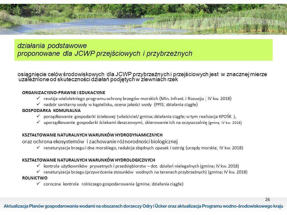 26 działania podstawowe proponowane dla JCWP przejściowych i przybrzeżnych osiągnięcie celów środowiskowych dla JCWP przybrzeżnych i przejściowych jes