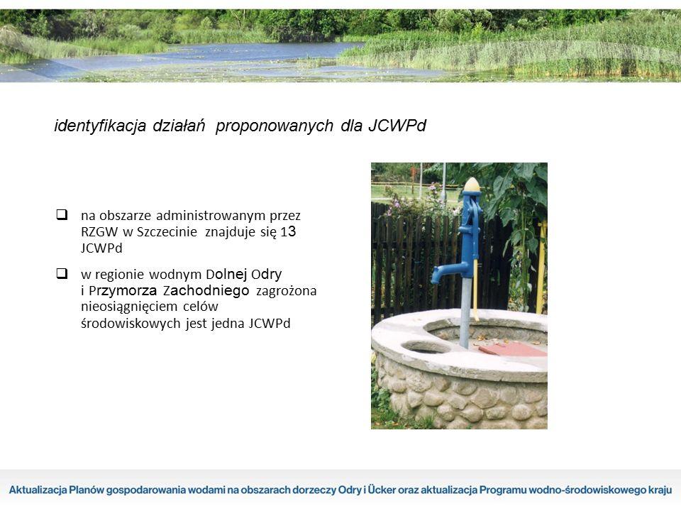 identyfikacja działań proponowanych dla JCWPd  na obszarze administrowanym przez RZGW w Szczecinie znajduje się 1 3 JCWPd  w regionie wodnym D olnej