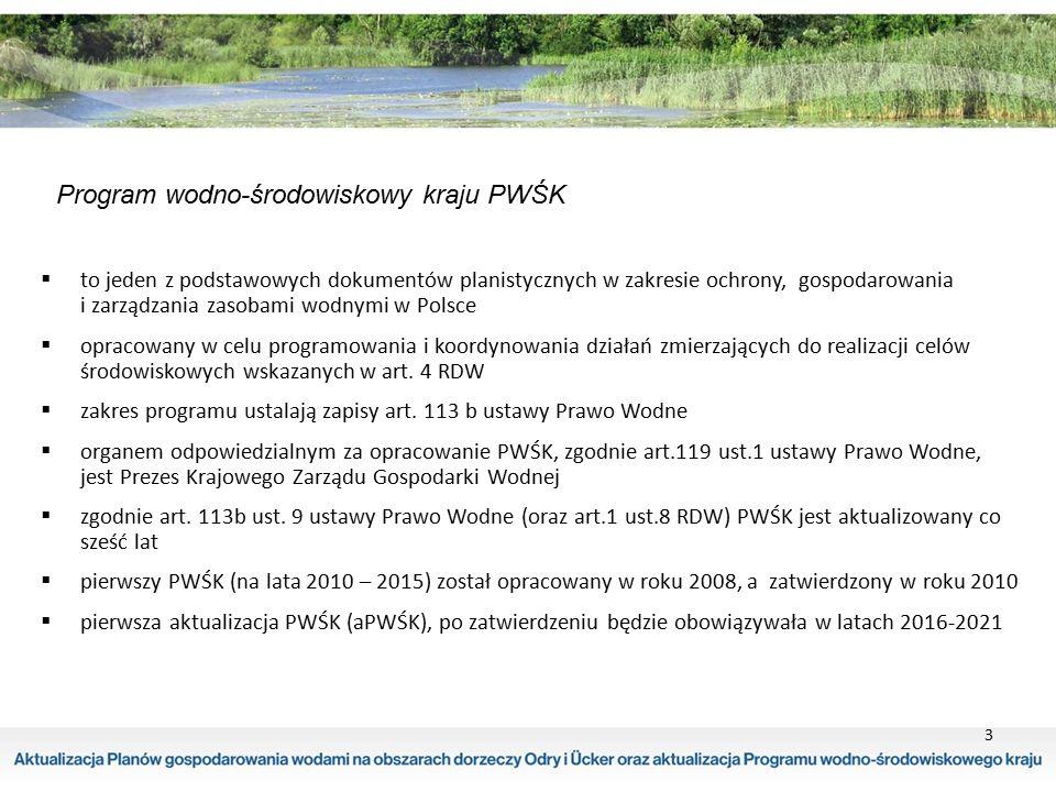 4 projekt aktualizacji Programu Wodno-środowiskowego Kraju zawartość opracowania projektu aPWŚK  opis projektu z podsumowaniem (część tekstowa)  załączniki – zał.1 katalog działań krajowych – zał.2 katalog działań dla JCW – zał.3 wskaźniki realizacji działań dla JCW – zał.4 podsumowanie kosztów – zał.5 potencjalne źródła finansowania – zał.6 formularze zbierania danych o postępie wdrażania działań dla JCW – zał.7 sprawdzian klimatyczny działań dla JCW – zał.8 zbiór działań dla JCW powierzchniowych i podziemnych oraz obszarów chronionych (art.