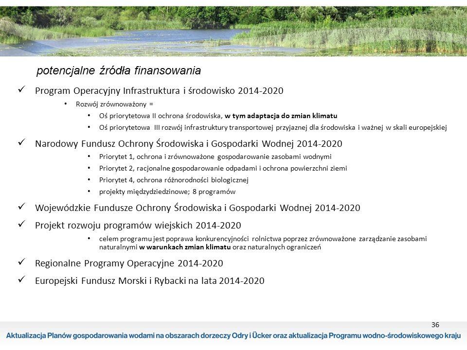 36 potencjalne źródła finansowania Program Operacyjny Infrastruktura i środowisko 2014-2020 Rozwój zrównoważony = Oś priorytetowa II ochrona środowisk