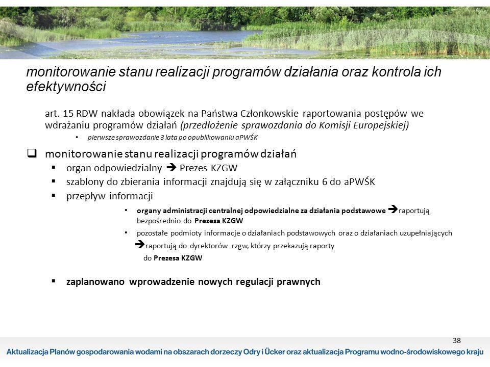 38 monitorowanie stanu realizacji programów działania oraz kontrola ich efektywności art. 15 RDW nakłada obowiązek na Państwa Członkowskie raportowani