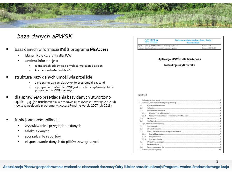 5 baza danych aPWŚK  baza danych w formacie mdb programu MsAccess identyfikuje działania dla JCW zawiera informacje o jednostkach odpowiedzialnych za