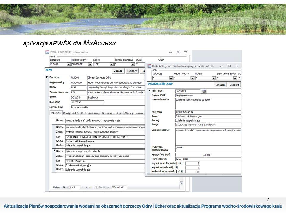"""8 projekt pierwszej aktualizacji Programu wodno-środowiskowego kraju (projekt aPWŚK)  został opracowany dla 10 dorzeczy  podstawową jednostką planistyczną jest jednolita część wód celem aPWŚK jest weryfikacja PWŚK wdrażanego od 2010 roku weryfikacja ta zawiera:  określenie stopnia realizacji działań - stan na sierpień 2014 roku  ocenę konieczności kontynuacji zadań nie zrealizowanych  przegląd obowiązujących programów działań w celu uwzględnienia -aktualnego stanu JCWP i JCW P d -aktualnie występujących presji i ich oddziaływań na stan zasobów wodnych ( 3 rozdział """"Opracowanie aktualizacji programu wodno-środowiskowego kraju Warszawa, listopad 2014 r.)"""