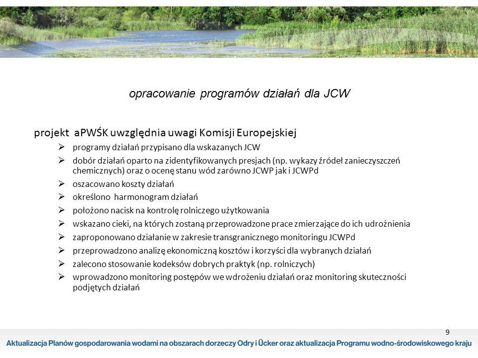 9 opracowanie programów działań dla JCW projekt aPWŚK uwzględnia uwagi Komisji Europejskiej  programy działań przypisano dla wskazanych JCW  dobór d
