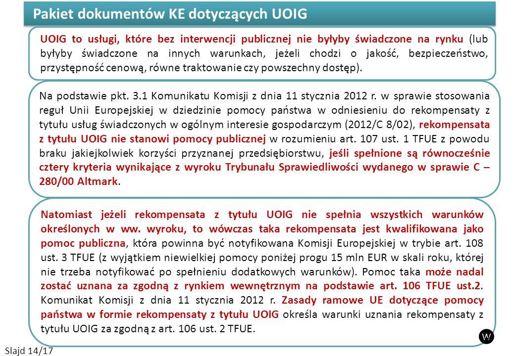 Pakiet dokumentów KE dotyczących UOIG Na podstawie pkt. 3.1 Komunikatu Komisji z dnia 11 stycznia 2012 r. w sprawie stosowania reguł Unii Europejskiej