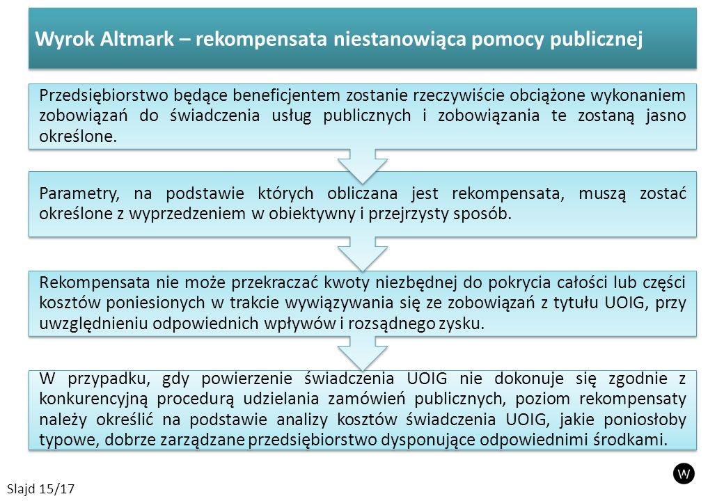 Wyrok Altmark – rekompensata niestanowiąca pomocy publicznej Slajd 15/17 W przypadku, gdy powierzenie świadczenia UOIG nie dokonuje się zgodnie z konkurencyjną procedurą udzielania zamówień publicznych, poziom rekompensaty należy określić na podstawie analizy kosztów świadczenia UOIG, jakie poniosłoby typowe, dobrze zarządzane przedsiębiorstwo dysponujące odpowiednimi środkami.