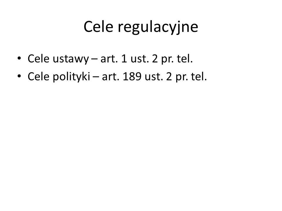Cele regulacyjne Cele ustawy – art. 1 ust. 2 pr. tel. Cele polityki – art. 189 ust. 2 pr. tel.