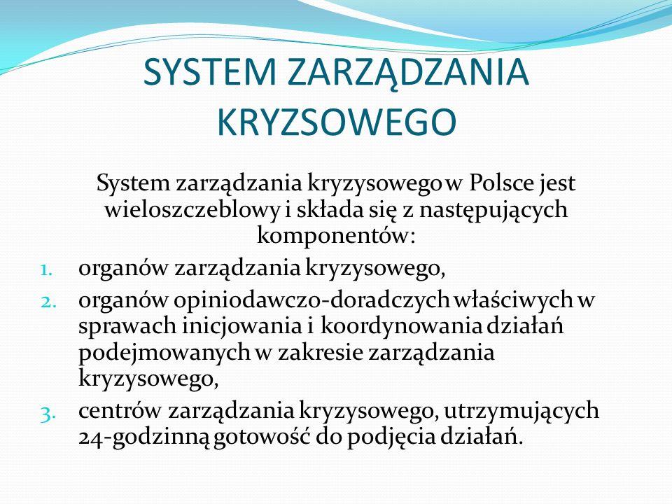 SYSTEM ZARZĄDZANIA KRYZSOWEGO System zarządzania kryzysowego w Polsce jest wieloszczeblowy i składa się z następujących komponentów: 1.