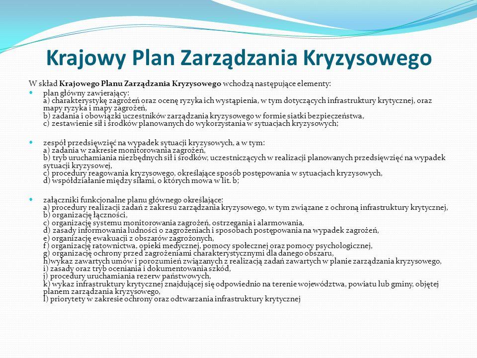 Krajowy Plan Zarządzania Kryzysowego W skład Krajowego Planu Zarządzania Kryzysowego wchodzą następujące elementy: plan główny zawierający: a) charakterystykę zagrożeń oraz ocenę ryzyka ich wystąpienia, w tym dotyczących infrastruktury krytycznej, oraz mapy ryzyka i mapy zagrożeń, b) zadania i obowiązki uczestników zarządzania kryzysowego w formie siatki bezpieczeństwa, c) zestawienie sił i środków planowanych do wykorzystania w sytuacjach kryzysowych; zespół przedsięwzięć na wypadek sytuacji kryzysowych, a w tym: a) zadania w zakresie monitorowania zagrożeń, b) tryb uruchamiania niezbędnych sił i środków, uczestniczących w realizacji planowanych przedsięwzięć na wypadek sytuacji kryzysowej, c) procedury reagowania kryzysowego, określające sposób postępowania w sytuacjach kryzysowych, d) współdziałanie między siłami, o których mowa w lit.