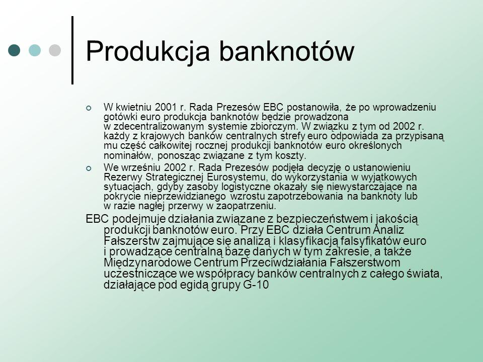Produkcja banknotów W kwietniu 2001 r. Rada Prezesów EBC postanowiła, że po wprowadzeniu gotówki euro produkcja banknotów będzie prowadzona w zdecentr