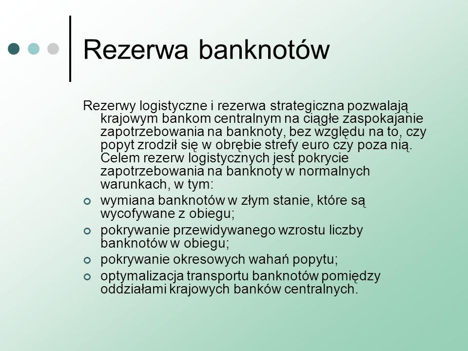 Rezerwa banknotów Rezerwy logistyczne i rezerwa strategiczna pozwalają krajowym bankom centralnym na ciągłe zaspokajanie zapotrzebowania na banknoty, bez względu na to, czy popyt zrodził się w obrębie strefy euro czy poza nią.