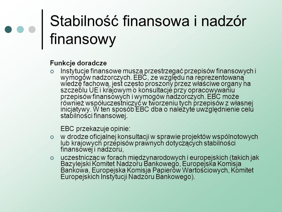 Stabilność finansowa i nadzór finansowy Funkcje doradcze Instytucje finansowe muszą przestrzegać przepisów finansowych i wymogów nadzorczych. EBC, ze