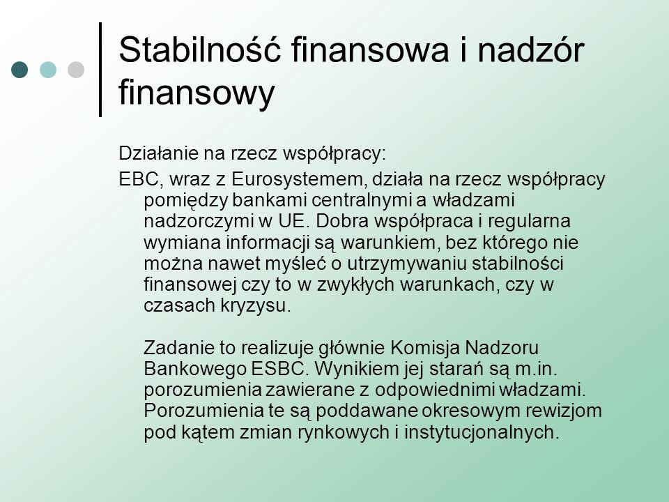 Stabilność finansowa i nadzór finansowy Działanie na rzecz współpracy: EBC, wraz z Eurosystemem, działa na rzecz współpracy pomiędzy bankami centralny