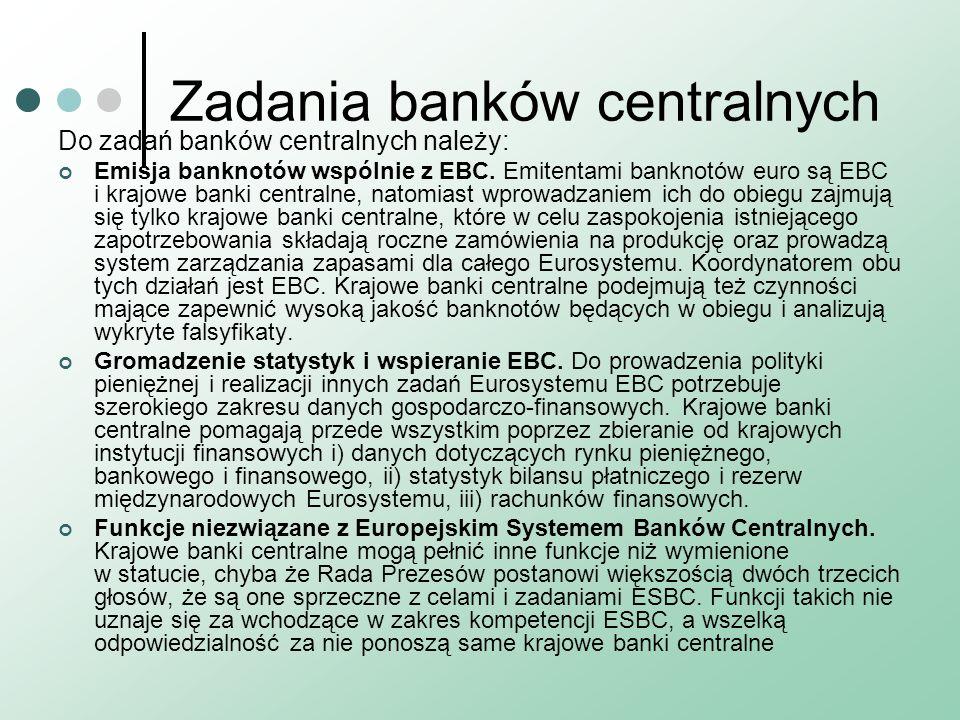 Zadania banków centralnych Do zadań banków centralnych należy: Emisja banknotów wspólnie z EBC. Emitentami banknotów euro są EBC i krajowe banki centr