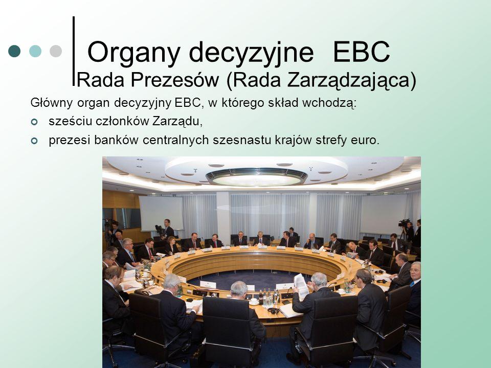 Organy decyzyjneEBC Rada Prezesów (Rada Zarządzająca) Główny organ decyzyjny EBC, w którego skład wchodzą: sześciu członków Zarządu, prezesi banków centralnych szesnastu krajów strefy euro.