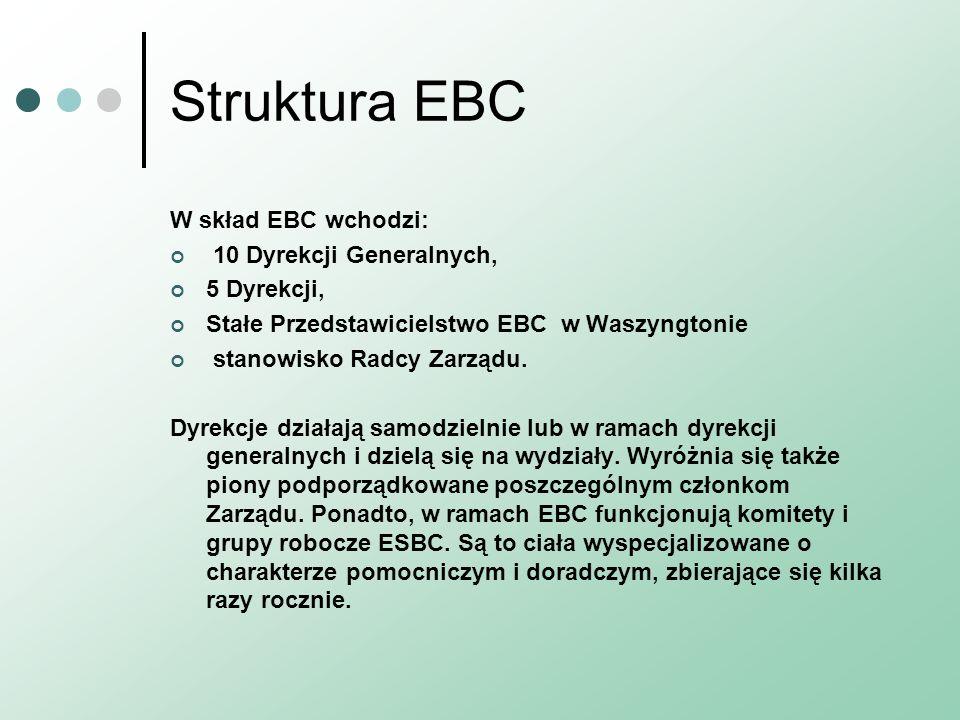 Struktura EBC W skład EBC wchodzi: 10 Dyrekcji Generalnych, 5 Dyrekcji, Stałe Przedstawicielstwo EBC w Waszyngtonie stanowisko Radcy Zarządu. Dyrekcje