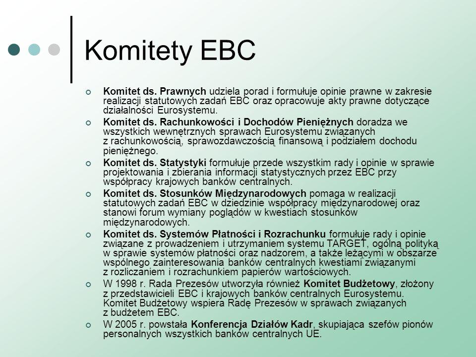 Komitety EBC Komitet ds. Prawnych udziela porad i formułuje opinie prawne w zakresie realizacji statutowych zadań EBC oraz opracowuje akty prawne doty