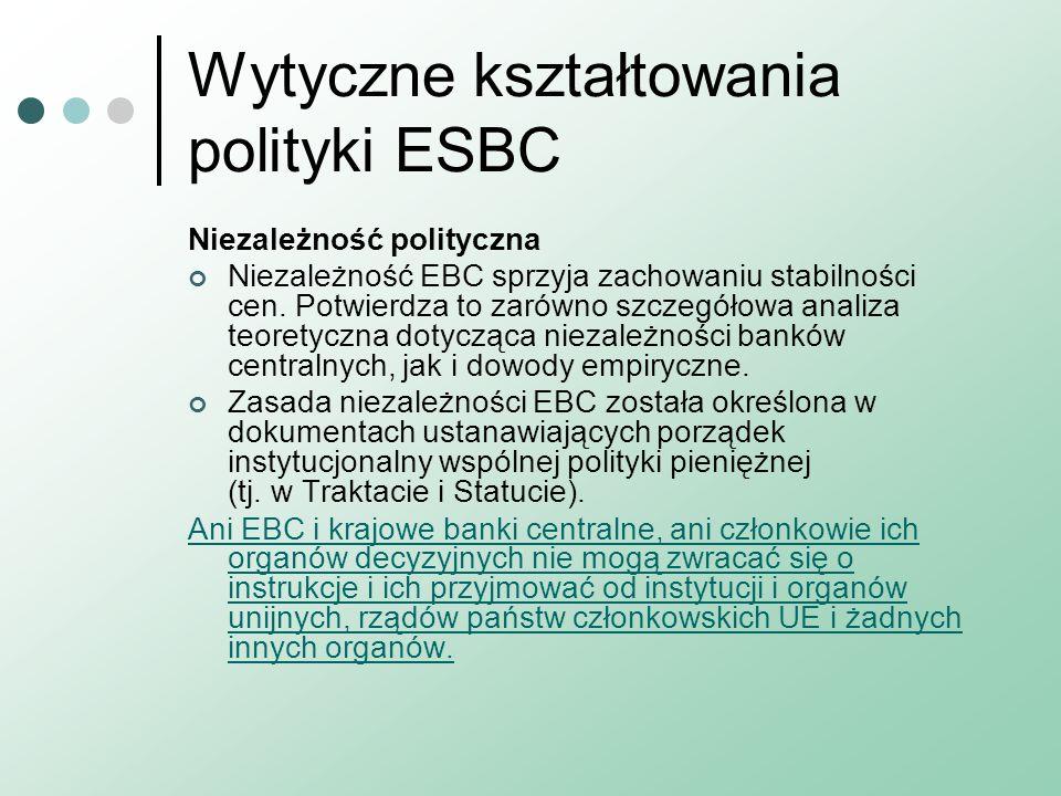 Wytyczne kształtowania polityki ESBC Niezależność polityczna Niezależność EBC sprzyja zachowaniu stabilności cen.