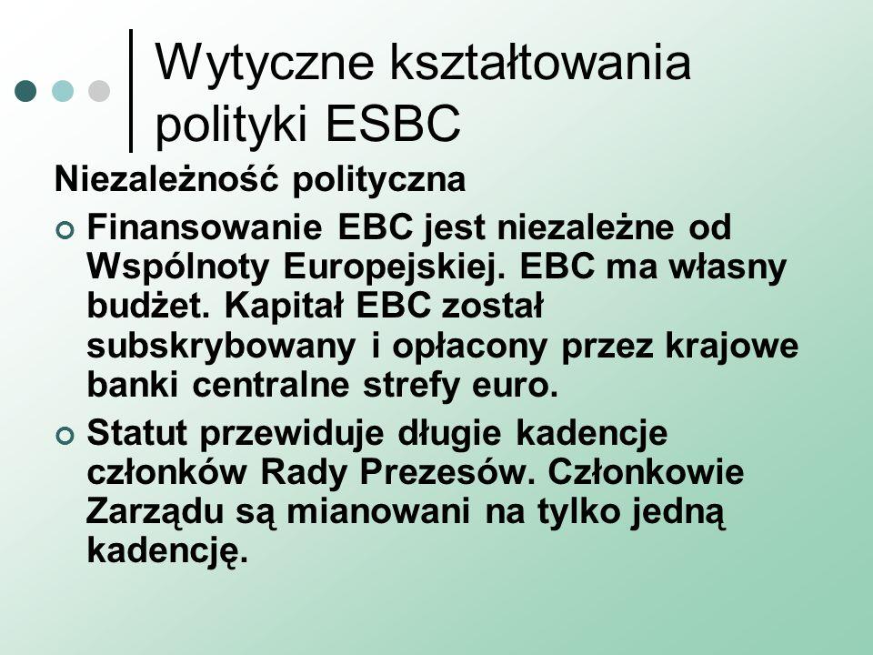 Wytyczne kształtowania polityki ESBC Niezależność polityczna Finansowanie EBC jest niezależne od Wspólnoty Europejskiej. EBC ma własny budżet. Kapitał