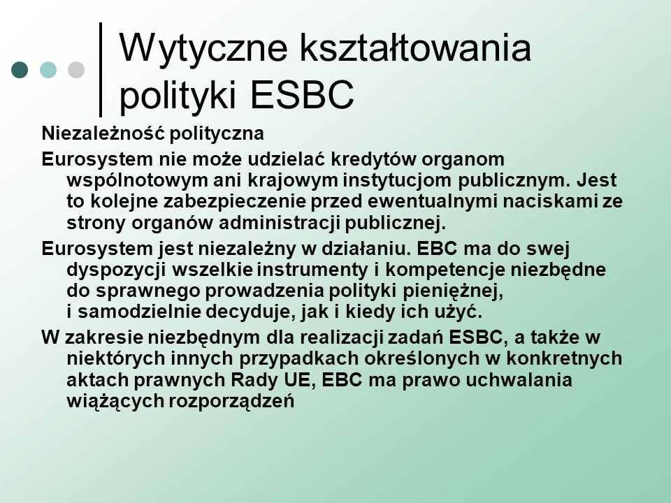 Wytyczne kształtowania polityki ESBC Niezależność polityczna Eurosystem nie może udzielać kredytów organom wspólnotowym ani krajowym instytucjom publi