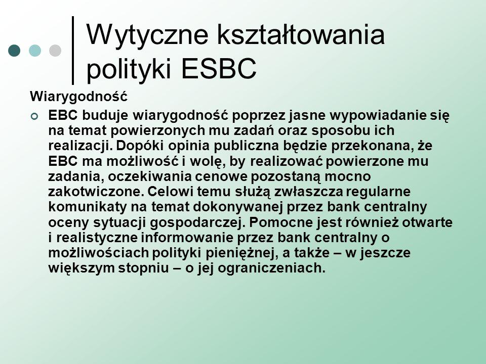 Wytyczne kształtowania polityki ESBC Wiarygodność EBC buduje wiarygodność poprzez jasne wypowiadanie się na temat powierzonych mu zadań oraz sposobu i