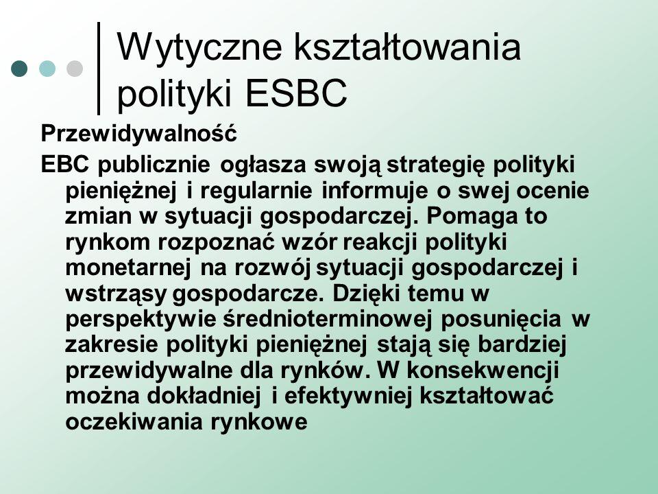 Wytyczne kształtowania polityki ESBC Przewidywalność EBC publicznie ogłasza swoją strategię polityki pieniężnej i regularnie informuje o swej ocenie zmian w sytuacji gospodarczej.
