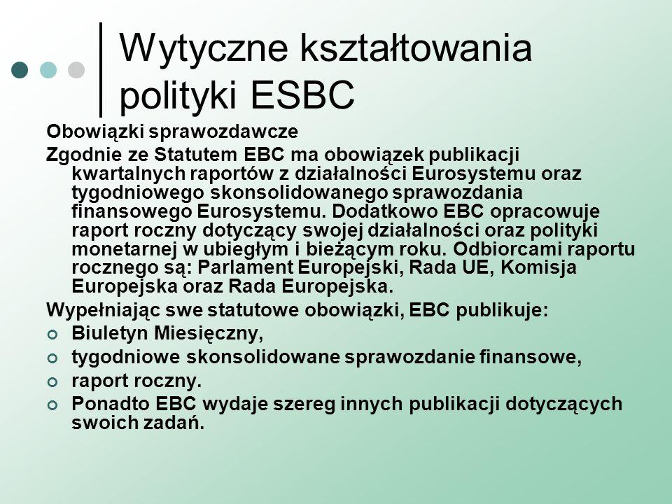 Wytyczne kształtowania polityki ESBC Obowiązki sprawozdawcze Zgodnie ze Statutem EBC ma obowiązek publikacji kwartalnych raportów z działalności Euros