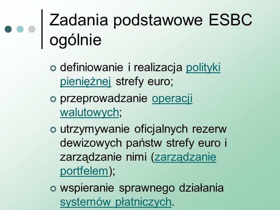 Zadania podstawowe ESBC ogólnie definiowanie i realizacja polityki pieniężnej strefy euro;polityki pieniężnej przeprowadzanie operacji walutowych;oper