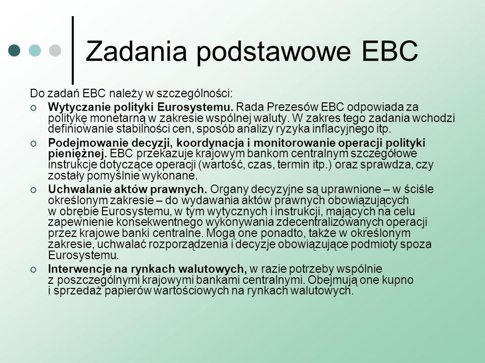 Zadania podstawowe EBC Do zadań EBC należy w szczególności: Wytyczanie polityki Eurosystemu. Rada Prezesów EBC odpowiada za politykę monetarną w zakre