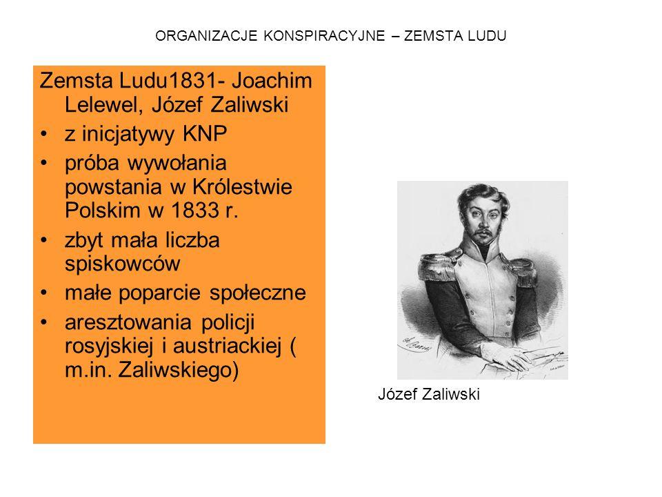 ORGANIZACJE KONSPIRACYJNE – ZEMSTA LUDU Zemsta Ludu1831- Joachim Lelewel, Józef Zaliwski z inicjatywy KNP próba wywołania powstania w Królestwie Polsk