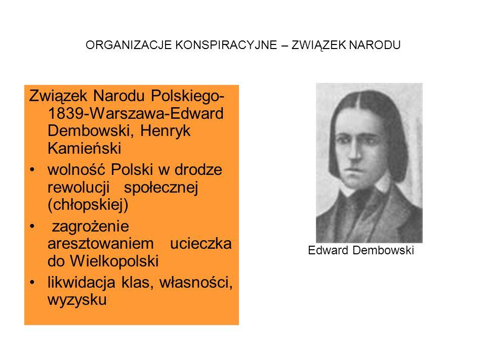 ORGANIZACJE KONSPIRACYJNE – ZWIĄZEK NARODU Związek Narodu Polskiego- 1839-Warszawa-Edward Dembowski, Henryk Kamieński wolność Polski w drodze rewolucj