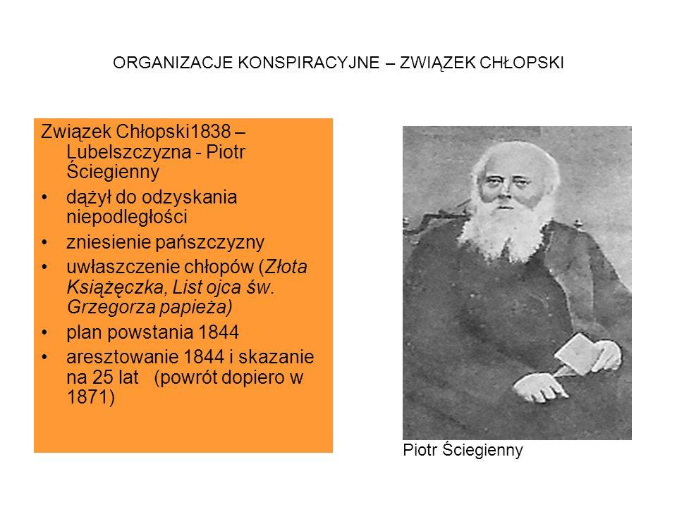 ORGANIZACJE KONSPIRACYJNE – ZWIĄZEK CHŁOPSKI Związek Chłopski1838 – Lubelszczyzna - Piotr Ściegienny dążył do odzyskania niepodległości zniesienie pań