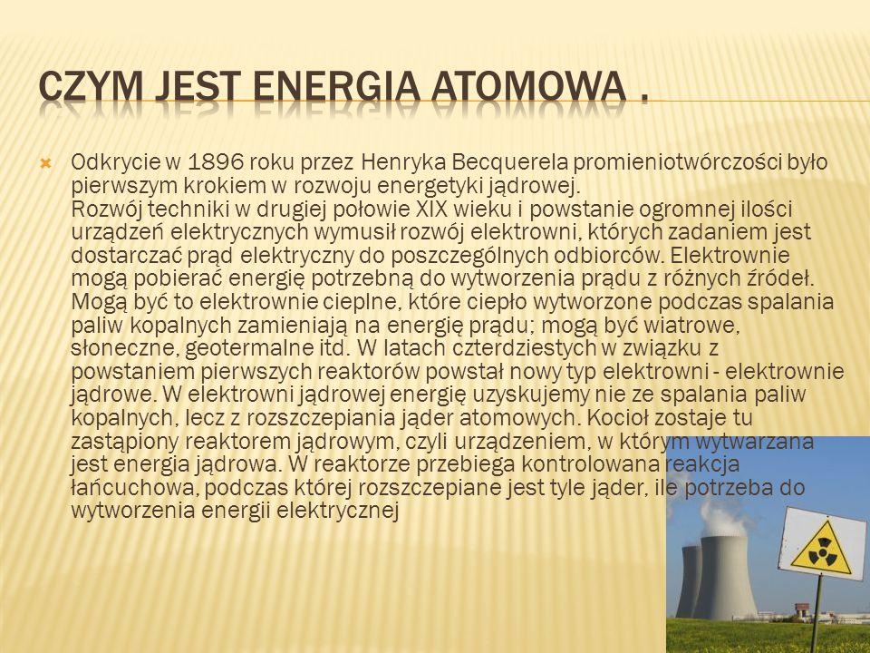  Odkrycie w 1896 roku przez Henryka Becquerela promieniotwórczości było pierwszym krokiem w rozwoju energetyki jądrowej.