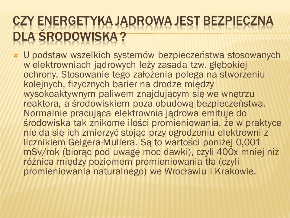  U podstaw wszelkich systemów bezpieczeństwa stosowanych w elektrowniach jądrowych leży zasada tzw.