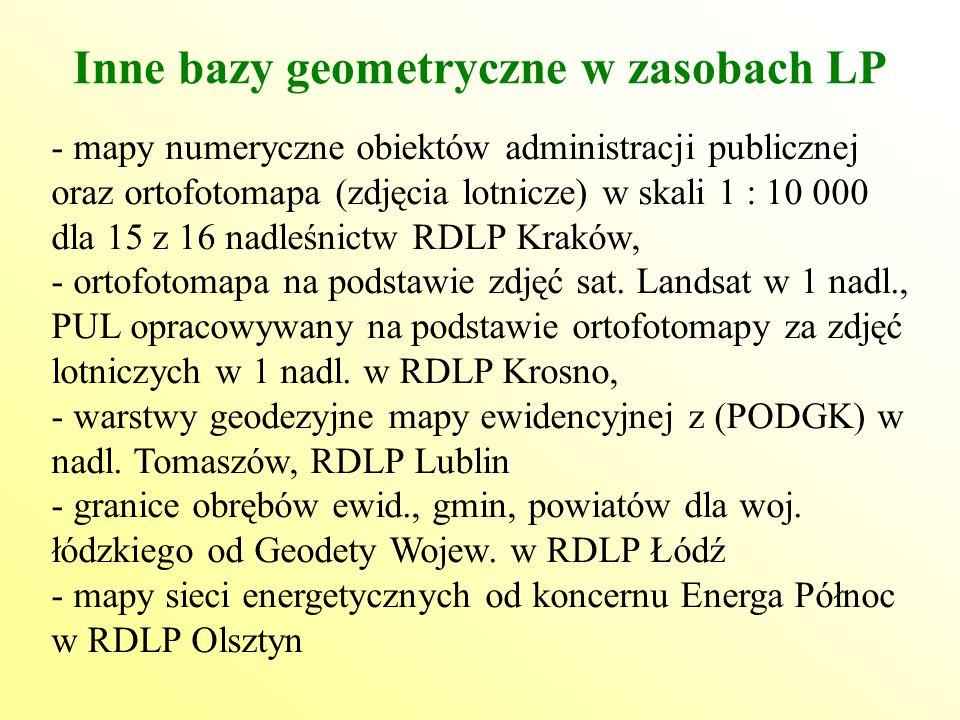 Inne bazy geometryczne w zasobach LP - mapy numeryczne obiektów administracji publicznej oraz ortofotomapa (zdjęcia lotnicze) w skali 1 : 10 000 dla 15 z 16 nadleśnictw RDLP Kraków, - ortofotomapa na podstawie zdjęć sat.