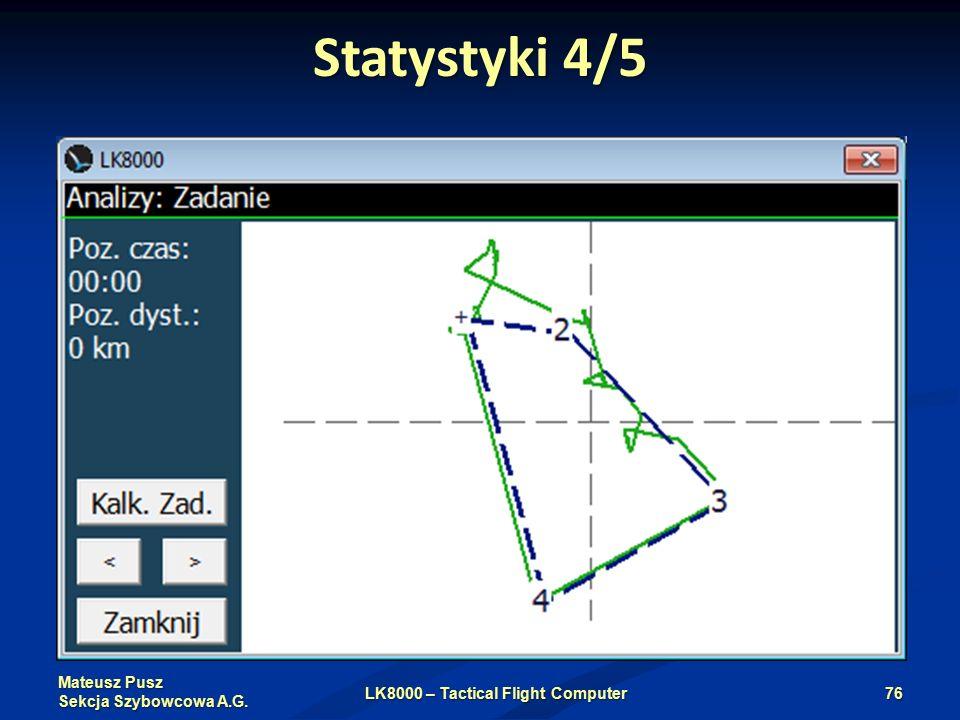 Mateusz Pusz Sekcja Szybowcowa A.G. Statystyki 4/5 LK8000 – Tactical Flight Computer76
