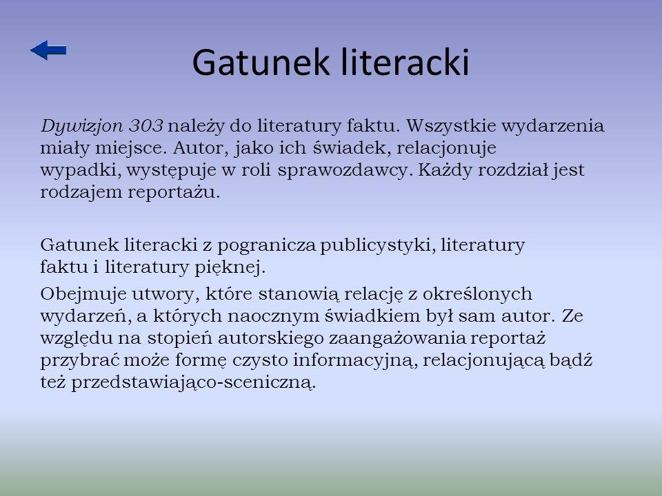 Gatunek literacki Dywizjon 303 należy do literatury faktu.