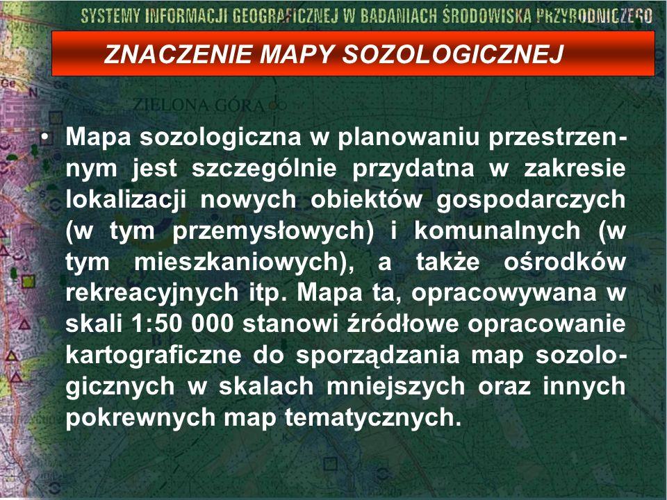 ZNACZENIE MAPY SOZOLOGICZNEJ Mapa sozologiczna w planowaniu przestrzen- nym jest szczególnie przydatna w zakresie lokalizacji nowych obiektów gospodar