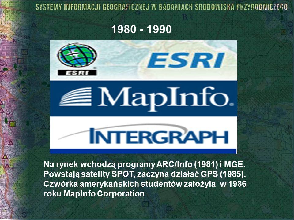 Na rynek wchodzą programy ARC/Info (1981) i MGE. Powstają satelity SPOT, zaczyna działać GPS (1985). Czwórka amerykańskich studentów założyła w 1986 r