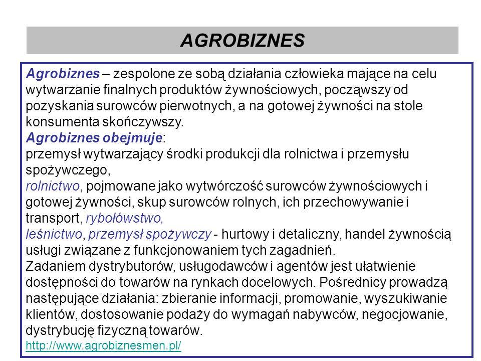 AGROBIZNES Agrobiznes – zespolone ze sobą działania człowieka mające na celu wytwarzanie finalnych produktów żywnościowych, począwszy od pozyskania surowców pierwotnych, a na gotowej żywności na stole konsumenta skończywszy.