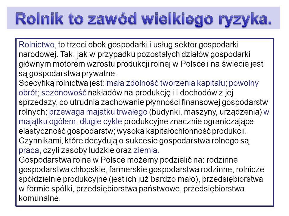 W Polsce ziemie rolnicze stanowią około 60% powierzchni kraju.