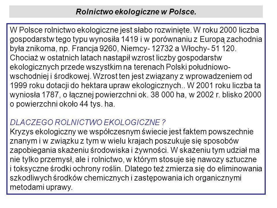 Rolnictwo ekologiczne w Polsce. W Polsce rolnictwo ekologiczne jest słabo rozwinięte. W roku 2000 liczba gospodarstw tego typu wynosiła 1419 i w porów