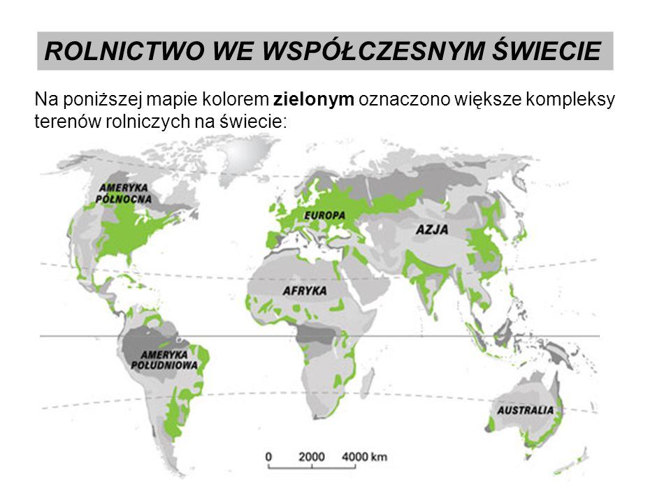 ROLNICTWO WE WSPÓŁCZESNYM ŚWIECIE Na poniższej mapie kolorem zielonym oznaczono większe kompleksy terenów rolniczych na świecie:
